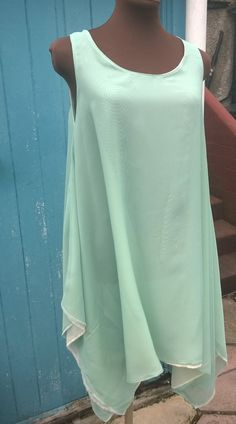 Chiffon dance dresses that I made for a show in green and cream.