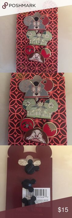 Disney Parks Pin Lot Set Disney Parks Pin Lot Set. Mickey ears shaped pins of 1 Tramp, 1 Tiana, and 1 Capitan Hook. Disney World originals. Three pins included with backings and on a pin card authentic and original to Disney Parks. No longer available in this style! Disney Accessories