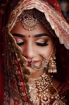 New Indian Bridal Photography Jewelry 63 Ideas Indian Wedding Makeup, Indian Wedding Bride, Best Bridal Makeup, Indian Bridal Outfits, Indian Bridal Fashion, Wedding Veil, Wedding Poses, Wedding Couples, Wedding Dresses