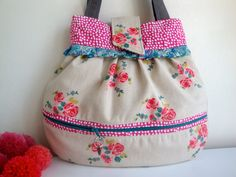 Floral   cotton Handbag  handmade  gift  girls  women by GerdaBags