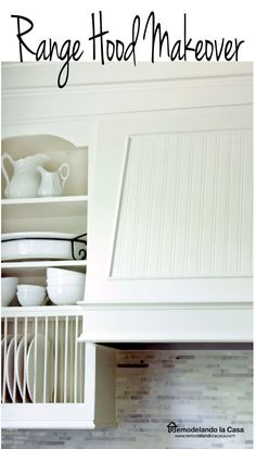 How to updated the look of a range hood with trim and bead-board.