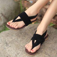 現貨出清女式涼鞋平跟女鞋子夾腳羅馬鞋絨布面休閒平底鞋-MeSmile | 麻衣Smile - Yahoo!奇摩超級商城