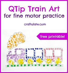 PREE Printable QTip Train Art for fine motor practice from Craftulate Train Crafts Preschool, Trains Preschool, Free Preschool, Preschool Learning, Teaching, Kindergarten Sensory, Preschool Letters, Preschool Ideas, Kids Crafts