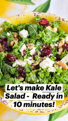 Kale Salad Recipes, Summer Salad Recipes, Salad Recipes For Dinner, Dinner Salads, Veggie Recipes, Lunch Recipes, Vegetarian Recipes, Healthy Recipes, Salads For Lunch