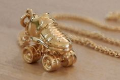 Roller derby jewellery - custom gold plated skate necklace