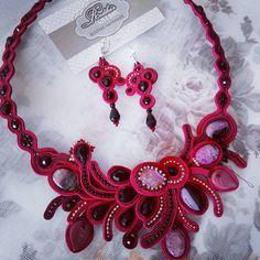 #soutache #necklace #earrings #handmade #agate