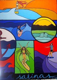 Salinas by lamoncu  #surf #art #surfing #painting #drawing #waves #longboard #sea #surfer #artist #paint #artwork #jocreo #posca