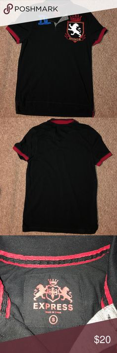 Express Men Polo / Golf Shirt Red & Black Express Men Polo / Golf Shirt - Size Small Express Shirts Polos