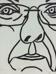 Een schets van mijn zelfportret. Door Twan de Vos.