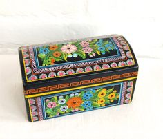 Mexican Jewelry Box Olinala Mexico Wooden Trinket Box Vintage Hand Painted Folk Art