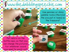 Great ideas for how to use bottle caps in therapy