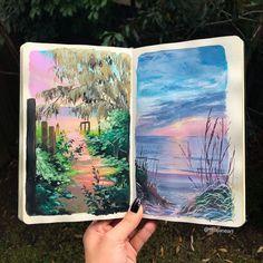 Sketchbook painting by Tara Jane Painting Inspiration, Art Inspo, Gouche Painting, Art Sketchbook, Artist Art, Akira, Gouache, Have Time, Watercolor Paintings