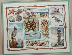 Rare Sunset SHORE SAMPLER Counted Cross by ThePamperedStitcher