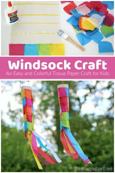 A simple but super fun tissue paper craft for kids! Make DIY windsocks with your kids! Great for all ages: toddler, preschoolers, and older kids all enjoy making thier own colorful windsocks! Make and hand on your porch this summer! #preschoolcrafts #craftsforkids #kidscrafts Summer Crafts For Kids, Summer Activities For Kids, Paper Crafts For Kids, Crafts For Kids To Make, Projects For Kids, Fun Crafts, Art Projects, Kids Fun, Toddler Crafts