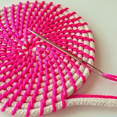 Find Your Happy von FindYourHappyDesign auf Etsy Work in progress for a basket from the series 'Neon & Natural - Series Browse unique items from FindYourHappyDesign on Etsy, a global marketplace of handmade, vintage and creative goods. Rope basket making Rope Basket, Basket Weaving, Rope Crafts, Diy Crafts, Crochet Projects, Sewing Projects, Rope Rug, Crochet Storage, Crochet Rope