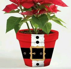 Santa suit clay pot