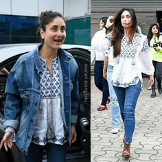 Kareena k khan Short Kurti Designs, Kurta Designs Women, Fashion Idol, Denim Fashion, Fashion Outfits, College Fashion, College Outfits, Indian Designer Outfits, Indian Outfits