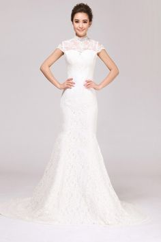 Sheath/Column structure with a High Neck, Cap Sleeve, and Lace Appliques, completed with a Cathedral Train. Buy Wedding Dress Online, Wedding Dress Train, Affordable Wedding Dresses, White Wedding Dresses, Cheap Wedding Dress, Bridal Dresses, Wedding Gowns, Wedding Bells, Lace Wedding