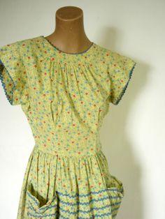 Vintage Depression Era 1930s Cotton Wrap Dress by VintageZipper, $35.00
