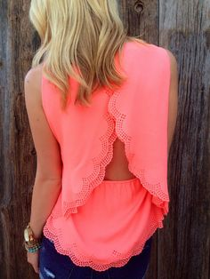 Scalloped Open Back Top