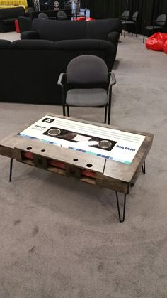 Casset tape coffee table at #NAMM2015