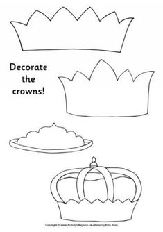 Decorate the Crowns--Color in and decorate these printable crowns with your own pictures.