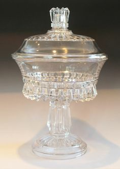 "EAPG Covered Compote ""CHANDELIER"" pattern also known as O'Hara's #82 and ""CROWN JEWELS"", made by O'Hara Glass Co of Pittsburgh PA (later United States Glass Co) in the late 1880s. 7 1/8""D x 11""H"