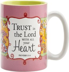 As you sip your morning coffee out of this pretty coffee mug, you'll be encouraged and inspired by the message, reminding you that God is always by your side if you trust in Him.