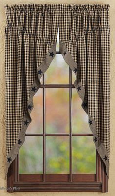 Like us on Facebook! https://www.facebook.com/AllysonsPlaceDecor / Black Applique Star Window Prairie Curtain / Primitive Home Decor / Country Decor /