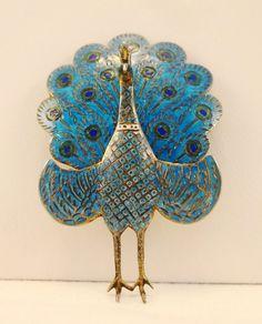 VINTAGE SIAM Sterling Enamel Peacock Brooch With by disNdatVINTAGE, $66.50