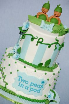 Two #Peas in a Pod #Cake so adorably cute! Great #CakeDecorating We love and had to share shared by www.twinsgiftcompany.co.uk