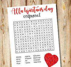 Day printables Word puzzle for Valentines Day St Patrick's Day, Word Puzzles, Valentine Day Gifts, Free Printables, Holiday, Christmas, Card Making, Presents, Homemade