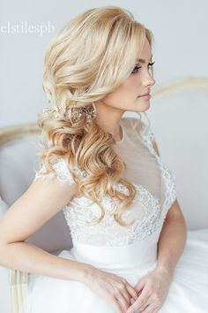 simple long wavy wedding hairstyle