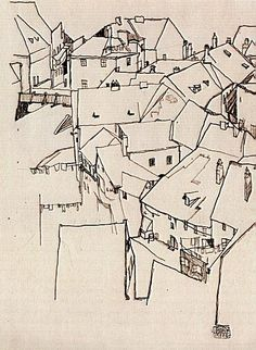 indispensabletopersevere: Egon Schiele background illustration, bring in colour to the foreground element Line Drawing, Drawing Sketches, Painting & Drawing, Art Drawings, Landscape Drawings, Egon Schiele Landscape, Egon Schiele Zeichnungen, Egon Schiele Drawings, Urban Sketchers