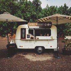 Dark Roost Coffee Kauai, HI, Vintage Perris Pacer coffee trailer Más Mobile Cafe, Mobile Shop, Mobile Kiosk, Coffee Van, Coffee Love, Real Coffee, Coffee Barista, Coffee Creamer, Coffee Shops