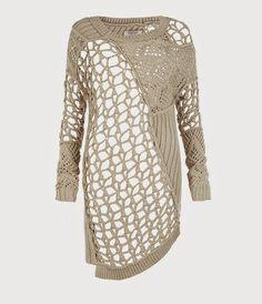 Lindíssima blusa em tricô , um mix de pontos e assimetrias..peça fora o comum!  By http://www.us.allsaints.com/