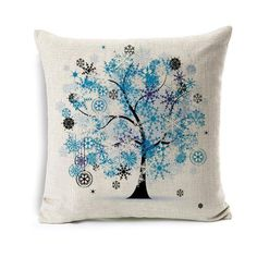 Colorful Blue Tree Pillowcase