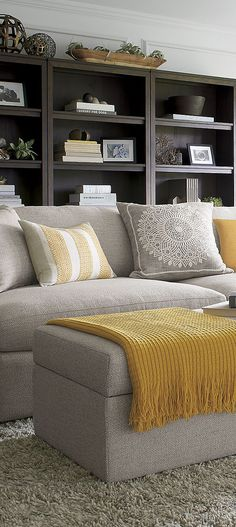 If you came looking for help on contemporary living room designs, you would be set to get furnishing and decorating your new living room in style. Living Room Grey, Living Room Modern, Living Room Sofa, Living Room Interior, Home Living Room, Small Living, Apartment Living, Yellow Living Room Accessories, Grey And Yellow Living Room