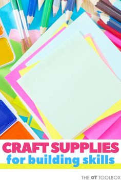Wondering what kids craft supplies you need to help kids build skills? Use these therapist-recommended craft items in therapy or DIY craft kits. Sensory Integration Therapy, Occupational Therapy Activities, Quick Crafts, Craft Stick Crafts, Crafts For Kids, Kids Craft Supplies, Craft Kits For Kids, Art Therapy Children, Epic Kids