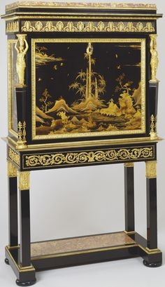 Secretaire Bernard Molitor (1755-1833) (cabinet maker) veneered in ebony and panels of Japanese lacquer showing landscape scenes and birds, with gilt bronze mounts. The top with brocatelle marble slab beneath which is a drawer decorated with a gilt rbonze anthemion motif on front and sides.