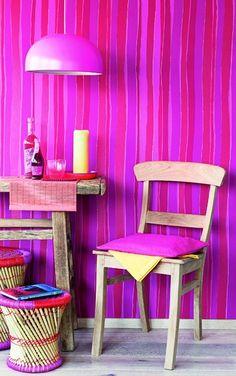 Behang Twist roze rood paars streep - BN Wallcoverings