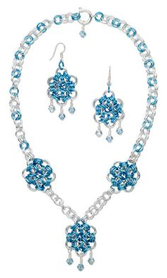 Single-Strand Necklace and Earring Set with Chain Mail and SWAROVSKI ELEMENTS - Fire Mountain Gems and Beads
