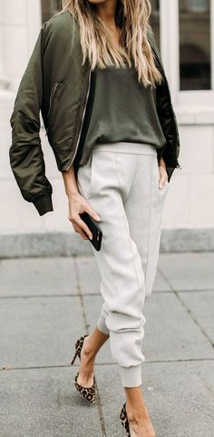 cozy outfit bomber, pants, heels