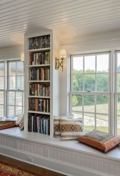 Under the Window Bookcase . 30 Under the Window Bookcase . 36 Fabulous Home Libraries Showcasing Window Seats Fresh Farmhouse, Home Libraries, Home Interior, Interior Ideas, My Dream Home, Living Spaces, Living Room, Sweet Home, New Homes