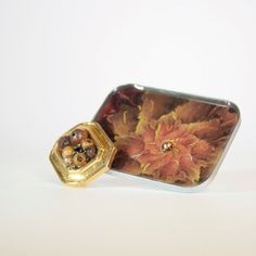 Handmade Resin brooch gold tone brown & orange pin by DreamsCorner, €18.00