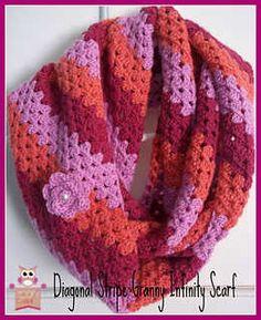 Diagonal Granny Stripe Infinity Scarf.# free # crochet  pattern link here