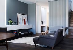 Gray flannel, Menswear. Modern interiors by Kerry Phelan Design Office