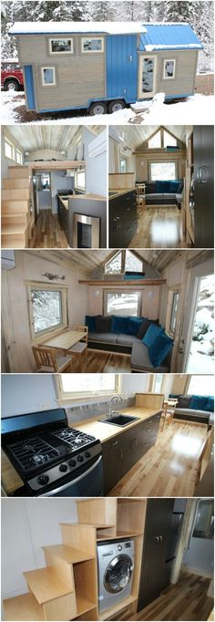 """Colorado Builders Have Found the Perfect Gem with their Blue Sapphire Home - SimBLISSity Tiny Homes of Lyons, Colorado specialize in designing and building gorgeous custom tiny houses and one of their latest models caught our eye with its bright blue exterior. The """"Blue Sapphire"""" is a 204 square foot house built on a 24-foot trailer with a captivating blue metal roof and siding and gray-washed wood accents."""