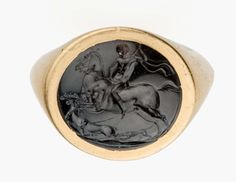 Round gem with hunter, deer, and dog. greek or Roman, Hellenistic or Republican Period 1st century BC. Dark green jasper. Museum of Fine Arts, Boston