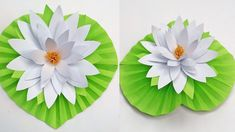 How to make water lily flower with paper How To Make Paper Flowers, Paper Flowers Diy, Flower Crafts, Diy Paper, Origami Water Lily, How To Make Water, Lilly Flower, Pom Pom Crafts, Diy Crafts Hacks